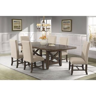 Picket House Furnishings Francis 7PC Dining Set-Table & 6 Fabric Dining Chairs