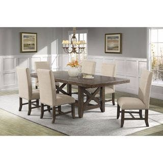 dining room sets with fabric chairs. Picket House Furnishings Francis 7PC Dining Set Table  6 Fabric Chairs Kitchen Room Sets For Less Overstock com