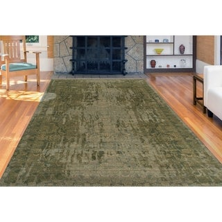 Abram Seaweed Grey/Green Wool/Silk Hand-knotted Area Rug (6'x9')