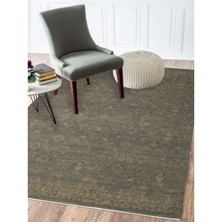 Abram Light Blue Wool/Silk Hand-Knotted Area Rug (6'x9')