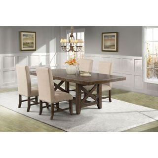 Picket House Francis Dining Table, 4 Fabric Back Side Chairs