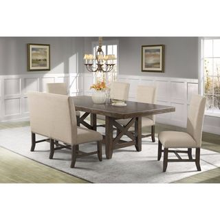 Picket House Francis Table, 4 Fabric Back Side Chairs & Fabric Back Bench
