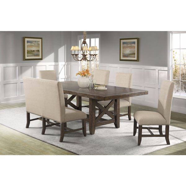 Picket House Furnishings Francis 6PC Dining Set Table 4 Fabric Back Chairs