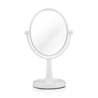 Jacki Design White/Pink Plastic and Glass Dual-sided Vanity Mirror With Jewelry Dish