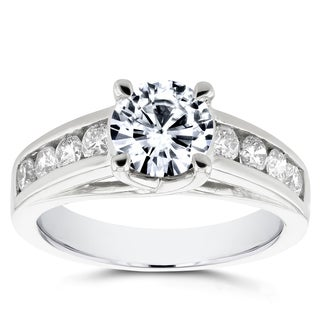 Annello 14k White Gold Forever One Moissanite and 1/2ct TDW Diamond Channel Band Engagement Ring (G-H, I1-I2)