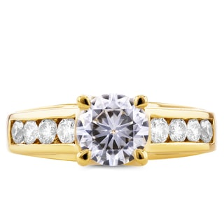 Annello 14k Yellow Gold Forever Brilliant Moissanite and 1/2ct TDW Diamond Channel Band Engagement Ring (G-H, I1-I2)