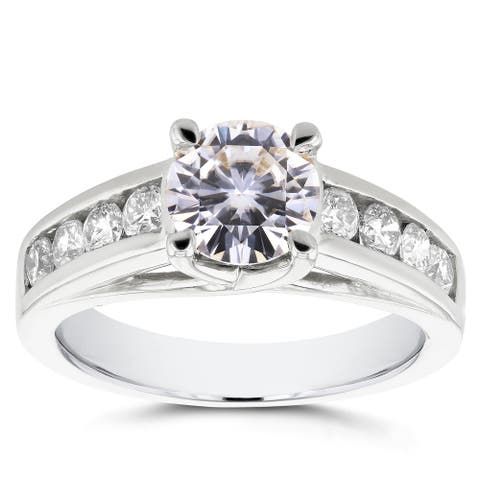 Annello by Kobelli 14k White Gold Moissanite (FG) and 1/2ct TDW Diamond (GH) Channel Band Engagement Ring