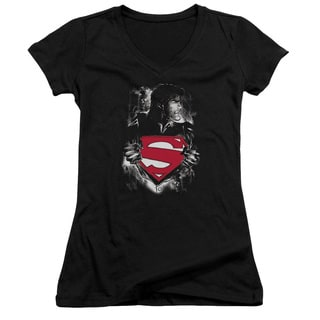 Superman/Darkest Hour Junior V-Neck in Black