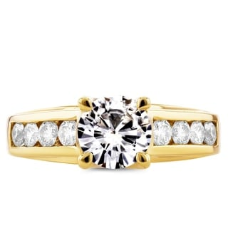 Annello 14k Yellow Gold Moissanite and 1/2ct TDW Diamond Channel Band Engagement Ring (G-H, I1-I2)