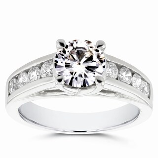 Annello 14k White Gold Moissanite and 1/2ct TDW Diamond Channel Band Engagement Ring (G-H, I1-I2)
