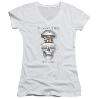 Rubik's Cube/Outside The Cube Junior V-Neck in White
