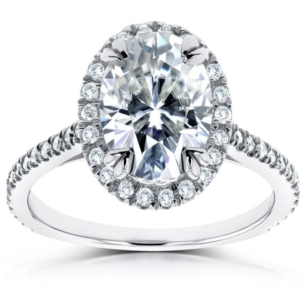 Annello by Kobelli 14k White Gold 1 4/5ct TGW Oval Moissanite and Diamond Halo Ring