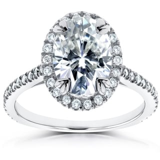Annello by Kobelli 14k White Gold 1 1/2ct DEW Oval Moissanite and 1/3ct TDW Diamond Halo Ring by Kobelli (G-H, I1-I2)