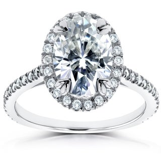 Annello 14k White Gold 1 1/2ct DEW Oval Moissanite and 1/3ct TDW Diamond Halo Ring (G-H, I1-I2)