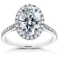 Annello by Kobelli 14k White Gold 1 4/5ct TGW Oval Moissanite (HI) and Diamond Halo Ring