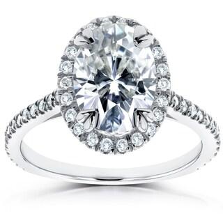 Annello by Kobelli 14k White Gold 1 4/5ct TGW Oval Moissanite and Diamond Halo Ring