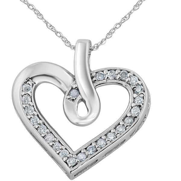 Shop 10K White Gold 1/4 Ct TDW Diamond Heart Shape Pendant