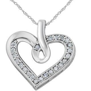 10K White Gold 1/4 ct TDW Diamond Heart Shape Pendant (I-J,I2-I3)