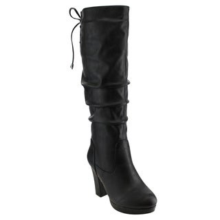 Top Moda ED60 Women's Faux Leather Platform Knee-high Boots