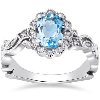 14k White Gold 1 ct Oval Blue Topaz & Diamond Vintage Halo Vine Petal Ring (I-J,I2-I3)
