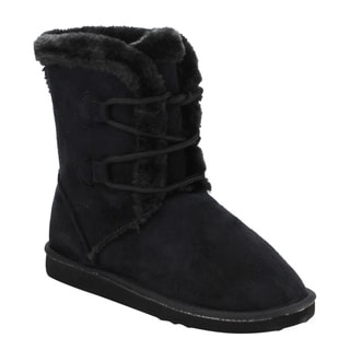 FOREVER GE21 Women's Lace Up Mid-Calf Flat Winter Snow Boots