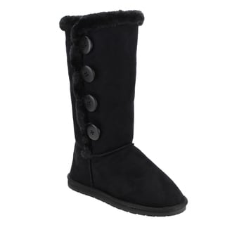 FOREVER GE22 Women's Four Buttons Under Knee High Flat Winter Boots