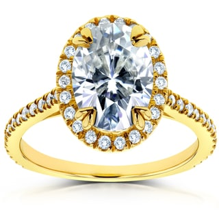 Annello 14k Yellow Gold 1 1/2ct DEW Oval Moissanite and 1/3ct TDW Diamond Halo Ring (G-H, I1-I2)