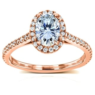 Annello 14k Rose Gold Oval Moissanite and 1/3ct TDW Diamond Halo Engagement Ring (G-H, I1-I2)