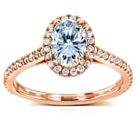Annello by Kobelli 14k Rose Gold Oval Moissanite and 1/3ct TDW Diamond Halo Engagement Ring