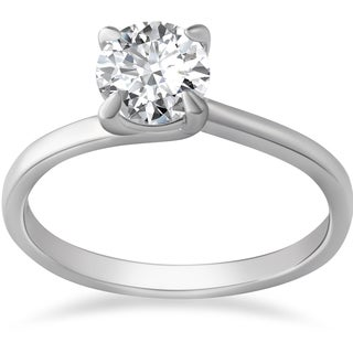 14k White Gold 1ct TDW Clarity Enhanced Diamond Solitaire Engagement Ring
