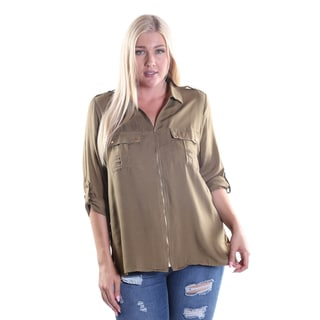 Hadari Women's Plus Size wing collar frontal zip 3/4 Roll up Button Sleeve Frontal Pockets Blouse