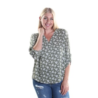 Hadari Women's Plus Size V-Neck 3/4 Zinched Button Sleeve Sheer Blouse with Flower Print