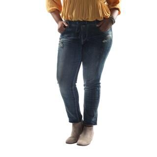 Hadari Women's Plus Size Pegged Denim Jeans with Elastic Adjustable Waistline