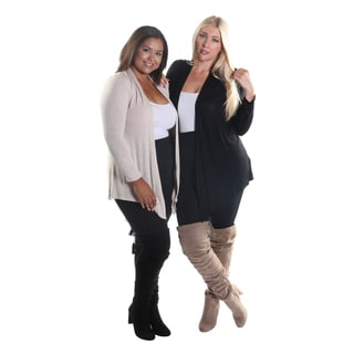 Hadari Women's Plus Size Set of 2 Open Front Long Sleeve Cardigans