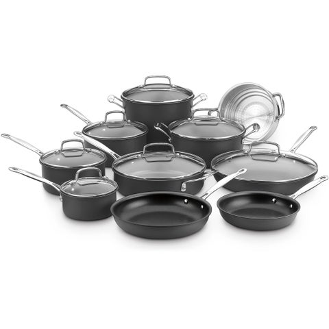 Cuisinart Chef's Classic Nonstick Hard Anodized 17-piece Cookware Set, Black