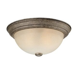 Crown Lighting Transitional 3-light Creek Stone Flush Mount