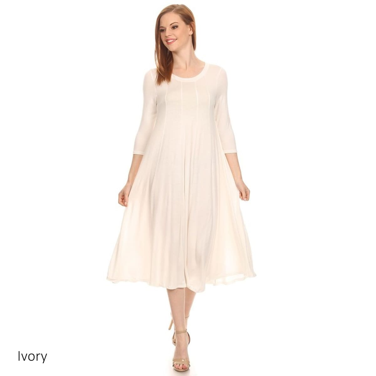 Women's Heather Rayon/Spandex Baby Doll Dress (Ivory-Medi...