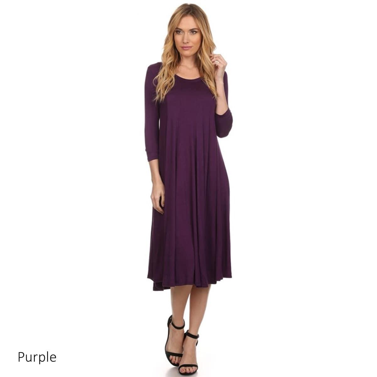 Women's Heather Rayon/Spandex Baby Doll Dress (Purple-Lar...