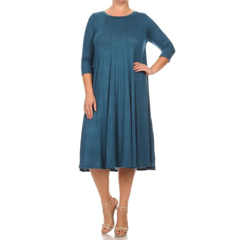 Womens Sold Rayon Blend Plus Size Midi Dress