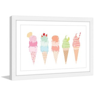 Marmont Hill - 'Ice Cream Cones' by Diana Alcala Framed Painting Print - Multi
