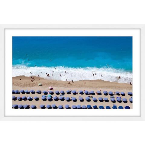 Marmont Hill - Handmade Blue Umbrella Rows Framed Print