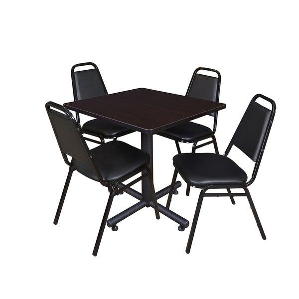 Regency Seating Kobe Laminate/Wood/Metal 30-inch Square Breakroom Table With 4 Black Stackable Restaurant Chairs
