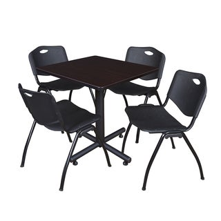 Regency Seating Kobe Black Laminate and Steel 30-inch Square Breakroom Table With 4 'M' Black Plastic and Steel Stack Chairs