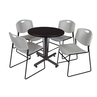 Kobe Grey/Black Laminate 30-inch Round Breakroom Table and 4 Zeng Stack Chairs