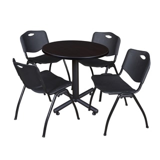 Regency Seating Kobe Black Laminate and Steel 30-inch Round Breakroom Table With 4 'M' Black Plastic and Metal Stack Chairs