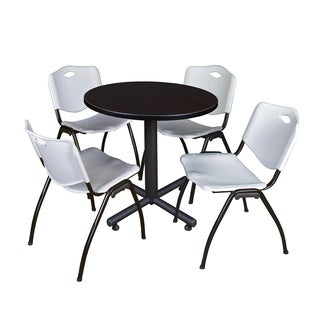 Regency Seating Kobe 30-inch Round Breakroom Table with 4 M Grey Stack Chairs