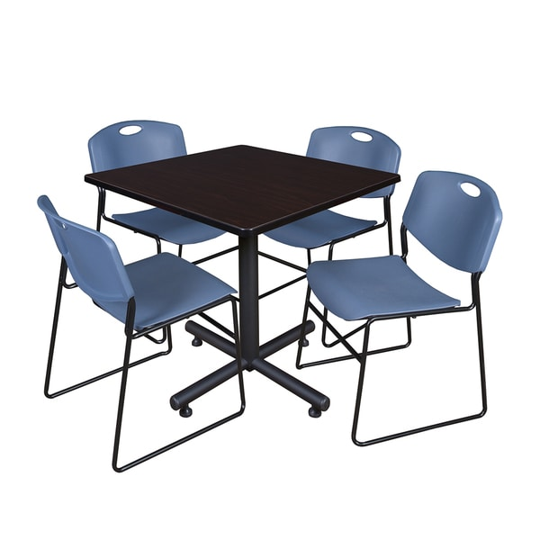 Regency Seating Kobe Black Laminate and Steel 36-inch Square Breakroom Table With 4 Zeng Blue Metal Stack Chairs
