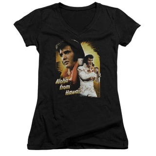 Elvis/Aloha Junior V-Neck in Black