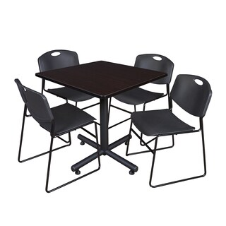 Regency Seating Kobe Black 36-inch Square Breakroom Table with 4 Black Zeng-style Stacking Chairs