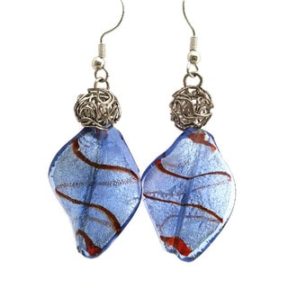 Heavenly Beads Vintage Blue and Red Lampwork Earrings